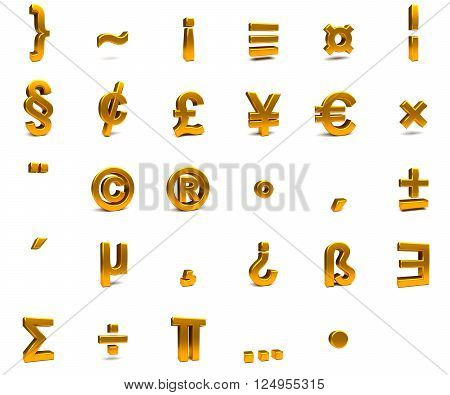 3D rendering. 3d gold font with each character in perspective on a white background