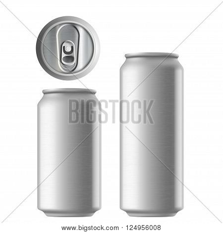 Set of metal aluminum cans 330 and 500 ml. Metal texture. Isolated on white background. Stock vector illustration.