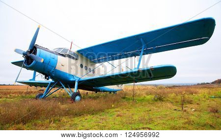 Biplane on the ground