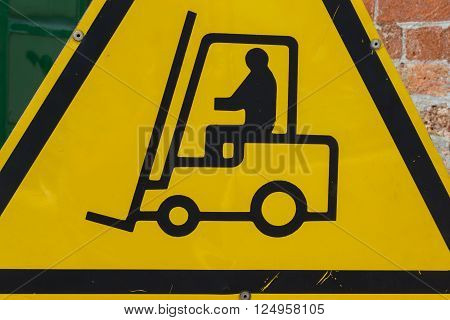 Yellow Fork Lift Truck Operating Warning Sign, Transportation Concept