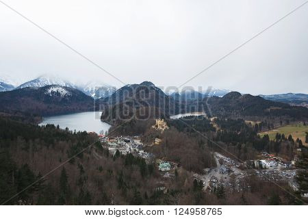 Schwangau Germany - January 06 2016: View of the Hohenschwangau Castle in Alps mountain at winter time