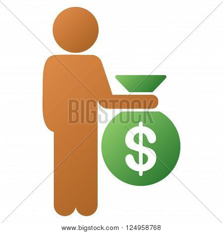Child Investor vector toolbar icon for software design. Style is a gradient icon symbol on a white background.