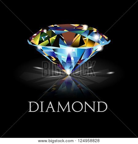 Dazzling diamond on black background. diamond background.