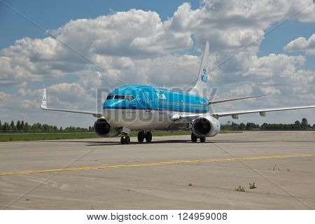 Borispol Ukraine - July 5 2014: KLM Boeing 737 taxiing to the terminal after landing