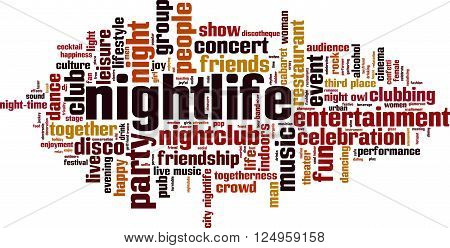 Nightlife word cloud concept. Vector illustration on white