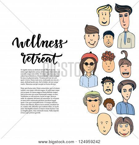 Doodle sketched people and lettering - Wellness retreat. Vector design banner, poster, brochure or cover.