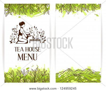 Green tea menu template. Japanese tea ceremony logo. Tea banner collection.