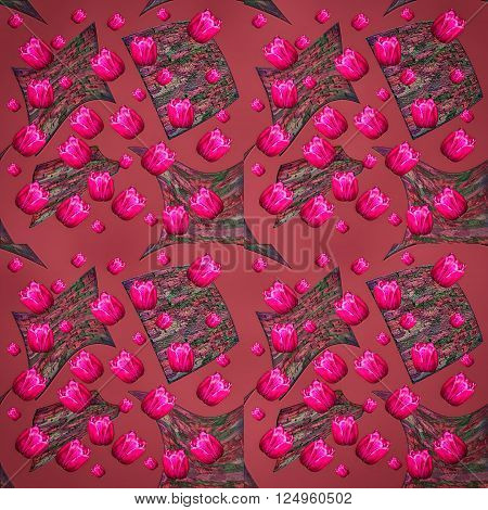 Seamless floral pattern bright pink tulips scattered textured geometric forms