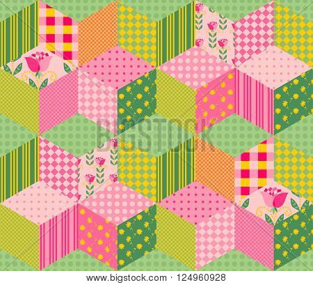Beautiful summer patchwork pattern. Seamless background in pink and green tones. Vector illustration of quilt. Can be used for textiles, fabrics, textures, wrapping paper.