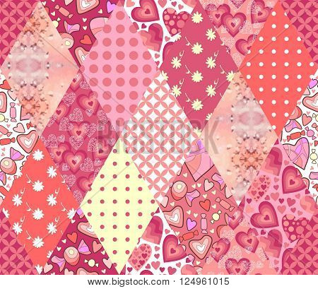 Romantic patchwork pattern. Seamless background in pink tones. Cute illustration of quilting.