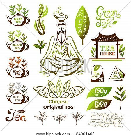 Tea logo collection. Chinese green and black tea emblems. Tea decorative elements for package design.