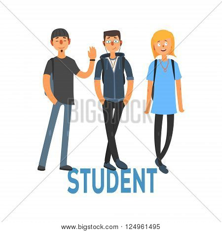 Student People Set Of Three Person In Summer Clothes Simple Style Vector Illustration With Text On White Background