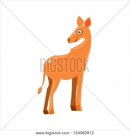 Smiling Antelope Flat Vector Illustration In Primitive Cartoon Style Isolated On White Background
