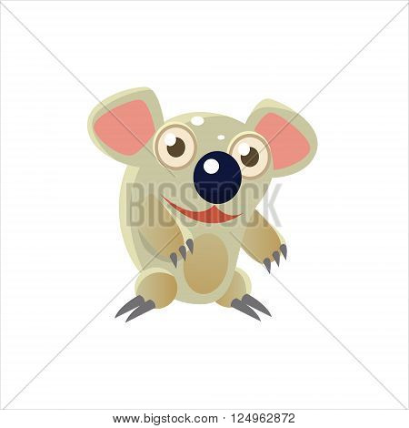 Smiling Koala Bear Flat Vector Illustration In Primitive Cartoon Style Isolated On White Background
