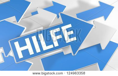 Hilfe - german word for help 3d render concept with blue and white arrows flying over a white background.
