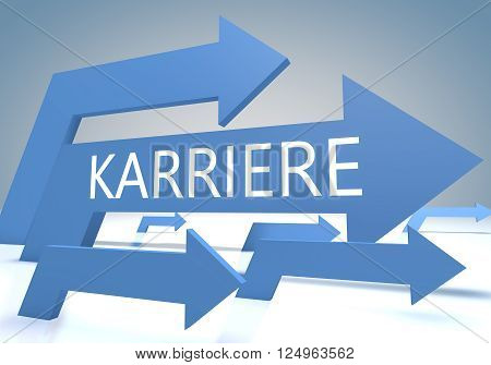 Karriere - german word for career - render concept with blue arrows on a bluegrey background.