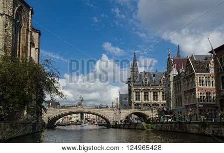 View on St Michael's brige from water. Gent, Belgium
