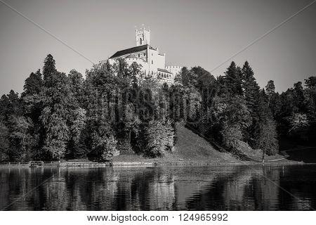 Old castle Trakoscan, Croatia, monochrome, dark mystic atmosphere