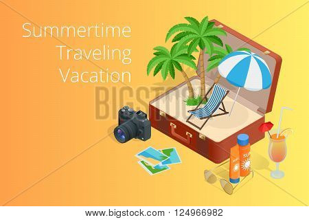 Trip to Summer holidays. Travel to Summer holidays. Vacation. Road trip. Tourism. Travel banner. Open suitcase with landmarks. Journey. Travelling 3d isometric illustration