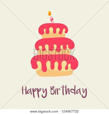 birthday cake icon Birthday card template Cartoon flat design – Birthday Cake Card Template