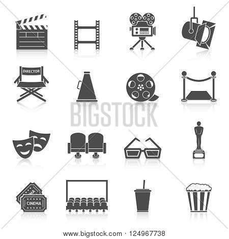 Cinema icons set. Production film and watch movie in the cinema icons collection