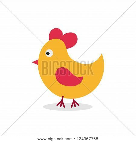 Little hen. Chick. Cartoon flat design. Chick character