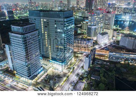 Dense skyline of Umeda District, Osaka, Japan ** Note: Visible grain at 100%, best at smaller sizes