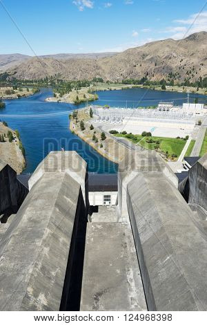 hydroelectric power station in summer day in new zealand