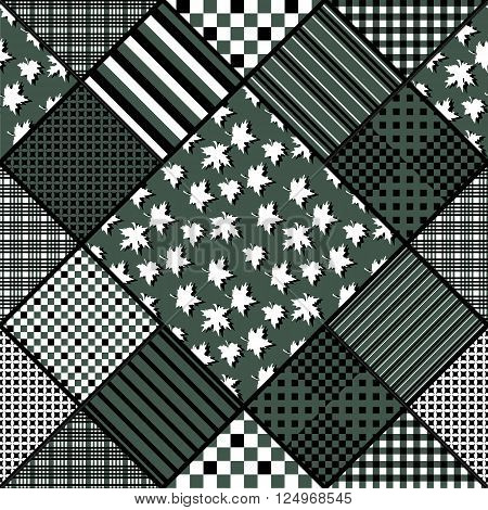 Vector seamless patchwork pattern. Quilting design with geometric patches and patches with maple leaves.