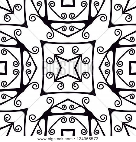 Forged seamless pattern. Black and white ornament. Vector illustration