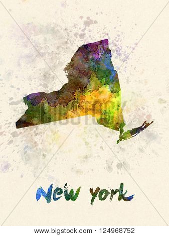 New York US state poster in watercolor background