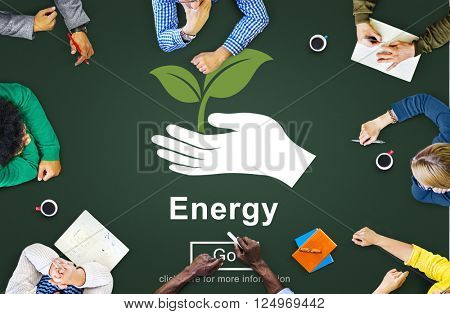 Energy Conservation Earth Plant Concept