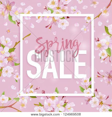 Spring Sale Banner. Sale background. Floral Sale Tag. Sale poster. Vector Illustration.