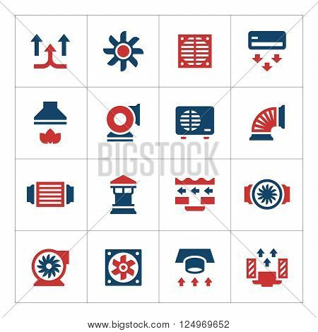 Set color icons of ventilation and conditioning isolated on white. Vector illustration
