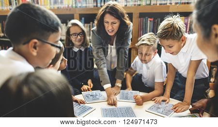 School Teacher Teaching Students Learning Concept