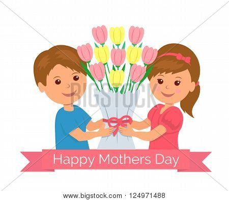 Isolated cartoon boy and girl holding a bunch of tulips as a gift mom. Concept design background for greeting card or invitation