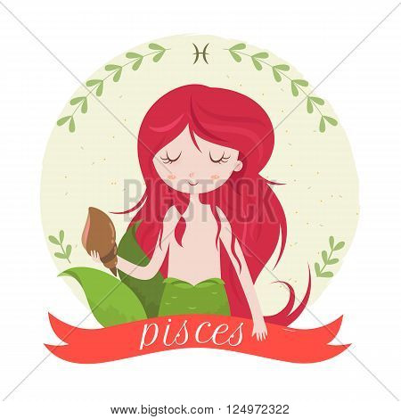 Zodiac signs Pisces. Cute cartoon girl - mermaid with seashell. Vector illustration on white background.