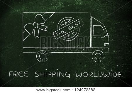 free shipping worldwide: delivery company truck vehicle with gift wrapping bow