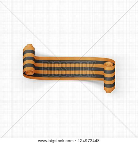 Black and golden scroll St. George Ribbon. Victory Day Symbol. Vector Illustration