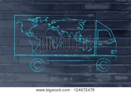 Shipping Company Vehicle With World Map Design