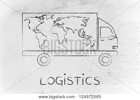 logistics: delivery company truck vehicle with world map design worldwide shipping concept