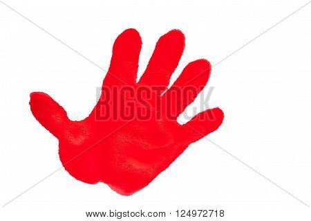 Child's handprint with red textured paint isolated on white background.