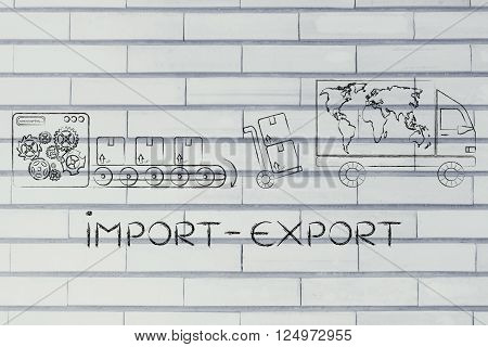 Factory, Parcels & Delivery Truck With World Map; Import-export