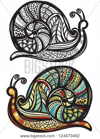Abstract snail with doodle pattern