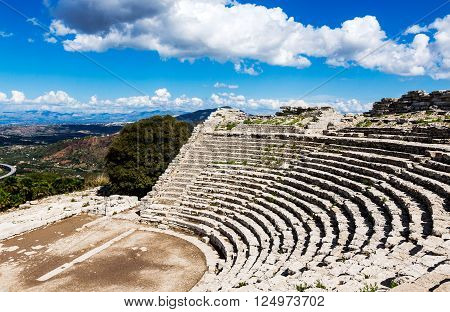 Ruins of the Greek Theater in Segesta Sicily Italy