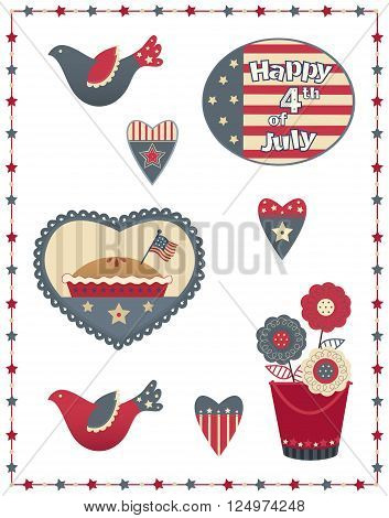 Country style Fourth of July patriotic set with eight different designs. Eps10