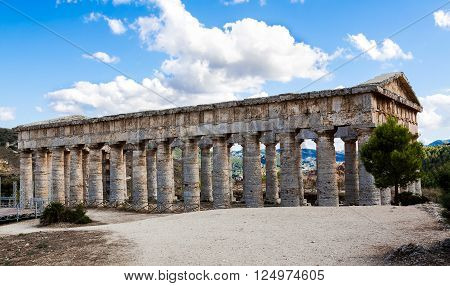 Defocused background with the greek temple of Segesta Sicily Italy.