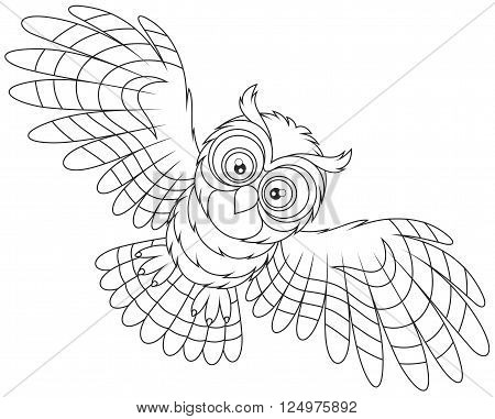 Black and white vector illustration of an owl hovering