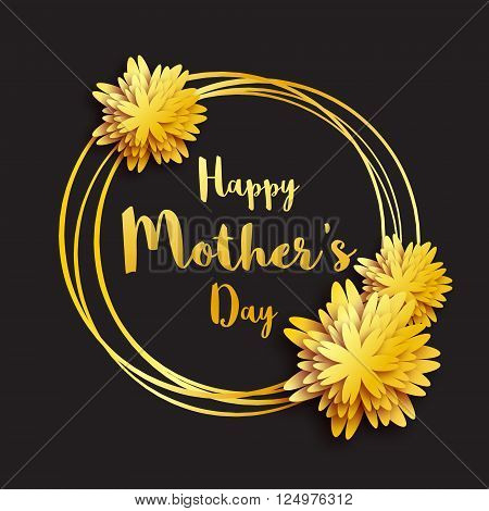 Happy Mother's Day. Golden foil Floral Greeting card. Women's day. Gold holiday background with paper cut Frame Flowers. Trendy Design Template for card vip certificate gift voucher present.