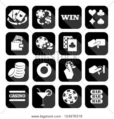 The set of flat monochrome casino icons for slots. Slot machine signes
